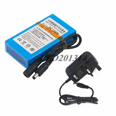 DC 12V 4000mAh Super Rechargeable Li-ion Battery Pack+Wall Charger UK/US/EU Plug