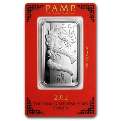 1~OUNCE ~ PURE .999 SILVER~ YEAR of the DRAGON ~ PAMP SUISSE ~SEALED BAR~ $46.88