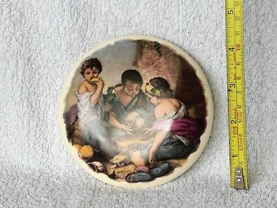 Pot Lid - Picture Of Children Playing Dice - Excellent Condition