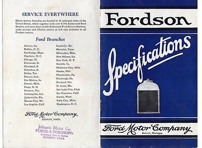 Original Vintage Fordson Tractor Specifications Features Booklet