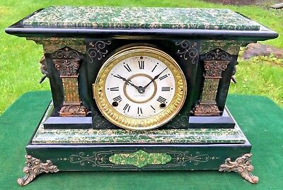 Antique 1880s SETH THOMAS Mantel Mantle Clock ADAMANTINE Lions Heads