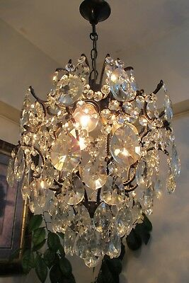 Antique Vintage French Cage Style Crystal Chandelier Light Luster 1940's 14 in