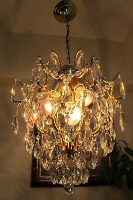 Antique Vnt. French Cage Style Crystal Chandelier Light Luster 1940's 15 in