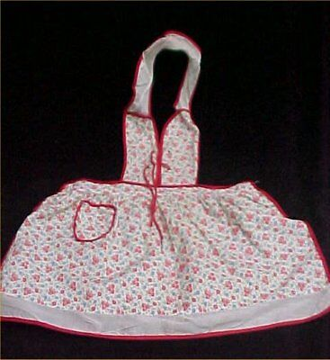 Vintage Antique Dress Little Girl Pinafore Apron Ties at Bodice Pink Floral