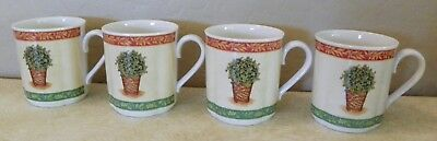 Set Of 4 Villeroy & Boch Festive Memories Topiary Cups Mugs Mint Condition