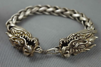 Collectable Handwork Decor Old Miao Silver Carve Dragon Exorcism Lucky Bracelet