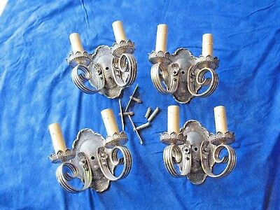 Set Four Art Deco Nickel Plated On Solid Brass Electric Wall Sconces Original