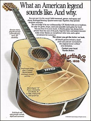 C.F. Martin 1991 x-ray to see x braces inside guitar ad 8 x 11 advertisement