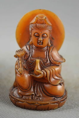 Collectable Handwork Decor Old Shoushan Stone Carve Kuan-Yin Pray Lucky Statue
