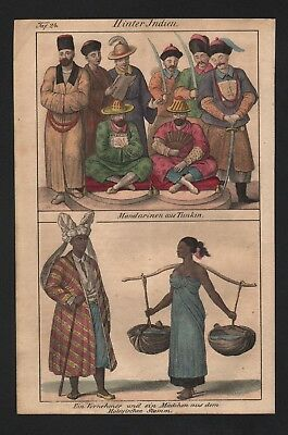 1830 - Tonkin Vietnam Malaysia Asia Asian natives costumes Lithograph