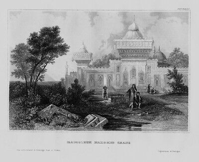1840 - Mahomed Chan Mausoleum Grab Indien India Asien Asia engraving Stahlstich