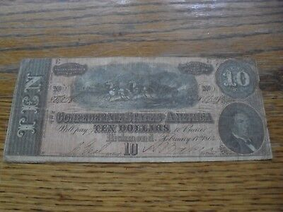 $10 1864 Confederate States Of America Note - T-68 - Richmond