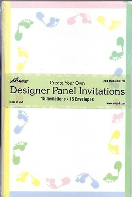 AMPAD Baby Shower Invitations Design Panel Feet Create Your Own 15 NIP ADORABLE!