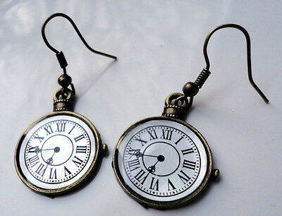 Antique Bronze Style EARRINGS Pocket Watch Steampunk Alice Vintage Theme Clock