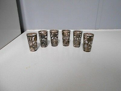 "6 Vtg Sterling Silver and Glass 2 3/4"" Cordial Glasses .Marked SNR .925 Mexico"