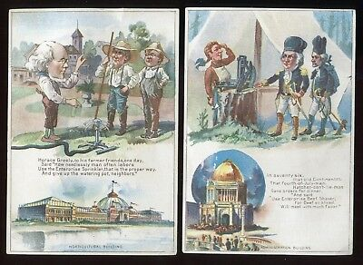 2 Different Enterprise Mfg Co Phila Pa 1880s Trade Cards Sprinklers Beef Shavers