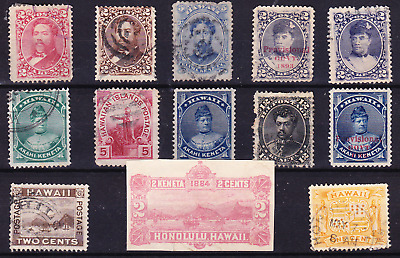 US Possession collection: 13 old Hawaii stamps M/U/F-VF with postal stationary!