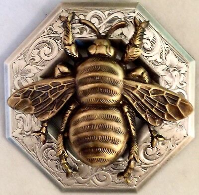 """HUGE SUPER LARGE BUMBLE BEE ~3"""" INCH BUTTON~Silvered Brass~Antique & Vintage"""