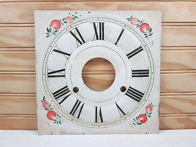 """Vtg Antique Tin Metal Clock Face Tole Ware Hand Painted Dial 8.25"""" Roman Numeral"""