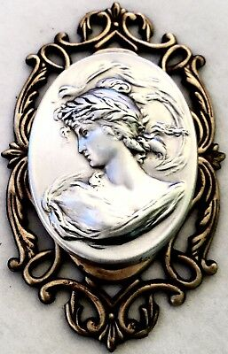 """ART NOUVEAU WOMAN~2 1/8"""" STERLING SILVER Overlay On OPEN FILAGREE Brass~Button"""