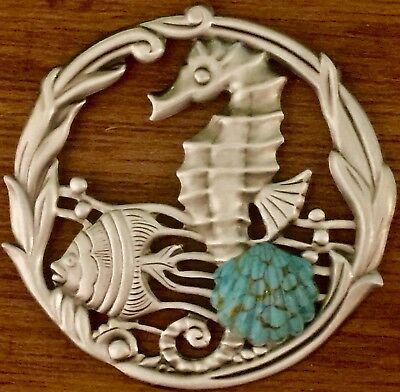 """GLASS TURQUOISE SHELL ON SEAHORSE BUTTON~Silvered Brass~Vintage ~2 1/4"""" INCH"""