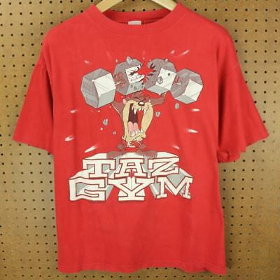 vtg faded 1993 usa made TAZ GYM looney tunes t-shirt LARGE boxy distressed 90's