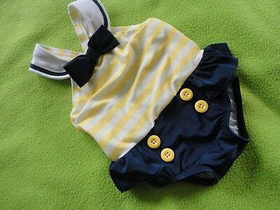 """NWOT Gymboree baby girl swimsuit sz 12-18 months, """"Sailor"""" style, navy, yellow"""