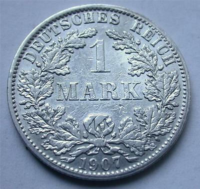 1907 A One 1 MARK German Empire Imperial Eagle Reich Silver Coin