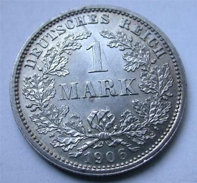1906 D One 1 MARK German Empire Imperial Eagle Reich Silver Coin