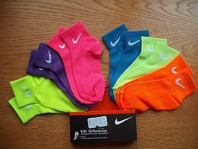 Girls NWT NIKE Socks Ankle 6prs All Different Yellow Purple Pink Blue Ages 4-6