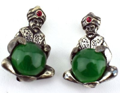 Vintage pair of Green Lucite Cabochon Jelly Belly Red RS cast Fortune Teller Pin