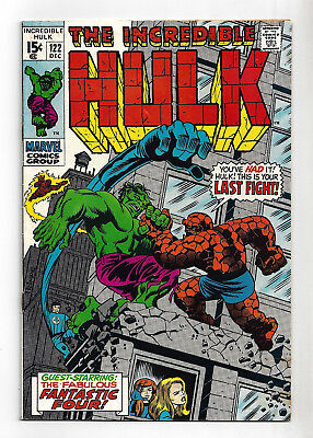 Incredible Hulk #122  Fine 6.0!  Vs The Thing!  Classic Cover!  1969