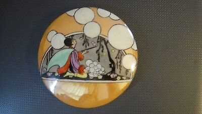 Vintage Art Deco Noritake Lusterware Powder Puff Box, Lady Blowing Bubbles, Rare