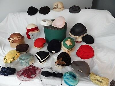 "Lot OF 25 VINTAGE/ANTIQUE WOMENS HATS 1930s - 1960s  & LARGE ""LEE"" HAT BOX"