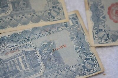 Lot of Mexican Revolution Notes 1914 7 Of One Peso, & 1 Of  5 Peso