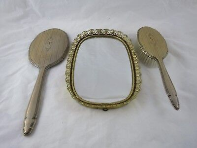 Vintage R Blackinton Sterling Silver Oval Mirror Brush Set And Mirrored Tray