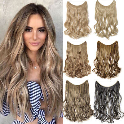 Premiun 3/4 Full Head Hidden Halo Invisible Flip Wire in Hair Extensions Brown