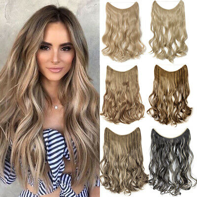 Premiun 3/4 Full Head Hidden Halo Invisible Wire in Hair Extensions Brown K57