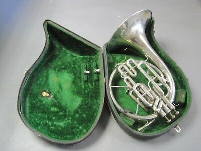 Vintage J.W. York & Sons French Horn Silver w Case & Xtra Slide Beautiful Horn