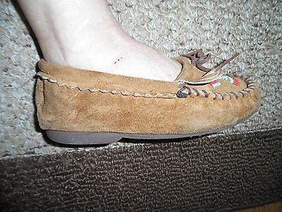 Vintage Taos Brown Suede Leather Fringe Moccasins Size 7.5 M