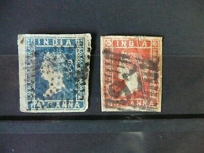 INDIA 1854-1855 Used Imperf Set of 2 Stamps Unchecked