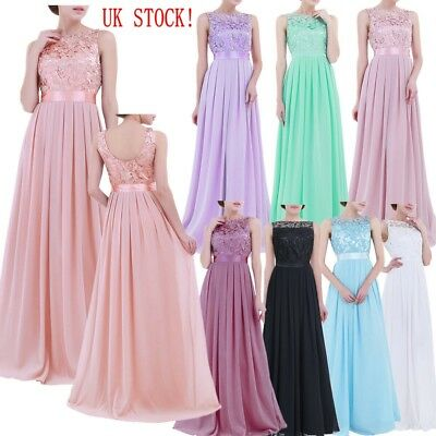 UK - Women's Wedding Bridesmaid Cocktail Party Ball Prom Gown  Maxi Formal Dress