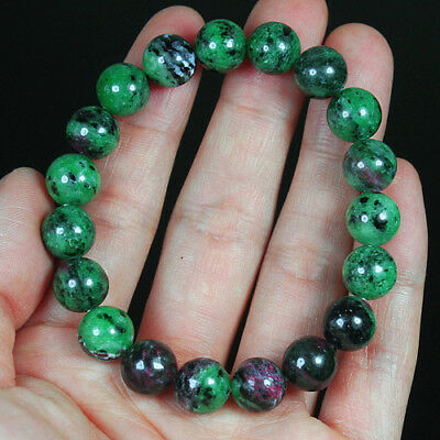 162CT 100% Natural Red Green Bi Color Ruby In Zoisite Beads Bracelet BRG244
