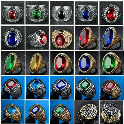 Mens Cubic Zirconia Gold Stainless Steel Finger Thumb Rings Band Jewelry 7-15