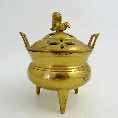 Chinese Brass Censer With Foo Dog Finial On Cover