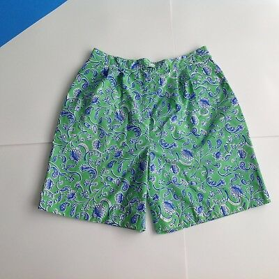 LILLY PULITZER Vintage Blue Walking Shorts 80s Floral Womens 16 L 32 - 34