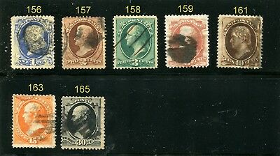 19 th Century selection  #156, 157, 158, 159, 161, 163, 165  CAT VALUE $375.00