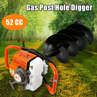 52cc 2.3HP Powered Gas Post Hole Digger Earth Digger Auger Machine 7500rmp