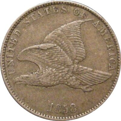 1858 Flying Eagle Cent--Small Letters--Nice Original AU