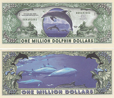 Two Dolphins One Million Dollars Novelty Currency Bills #054